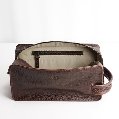 Interior Pocket. Dark Brown leather toiletry, shaving bag with hand stitched handle. Groomsmen gifts