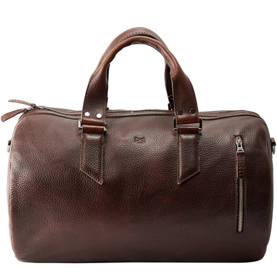 Dark Brown Duffle leather travel bag for men. Gym athletic bag