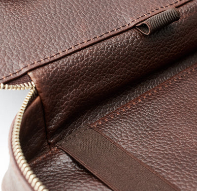 Leather detail. Dark Brown leather gadget bag, tech dopp kit, electronic organizer. Fits iPad Pro with Apple pencil.