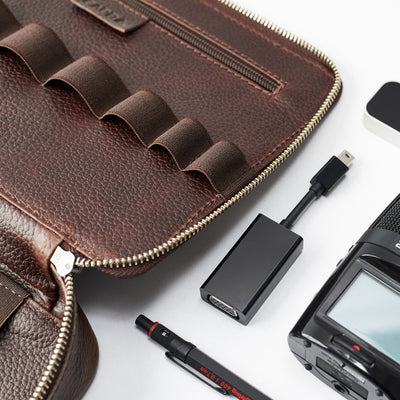 Style. Dark Brown leather gadget bag, tech dopp kit, electronic organizer. Fits iPad Pro with Apple pencil.