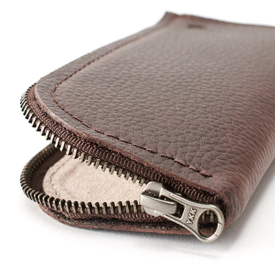 YKK metallic zippers. Dark brown leather Glasses case, sunglasses case, hand stitched leather sleeve for reading glasses