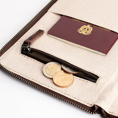 Coins pocket. Dark brown leather passport for travelers, gifts for men. Travel journal, document organizer holder