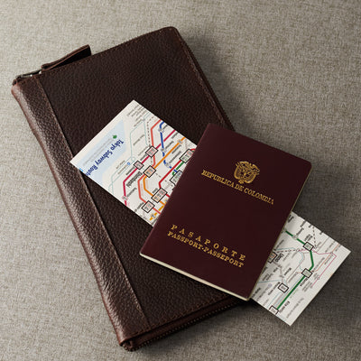 Style. Dark brown leather passport for travelers, gifts for men.