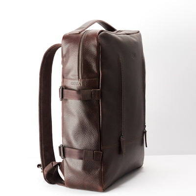 Side. Dark brown Leather Backpack for men. Designer unique rucksack