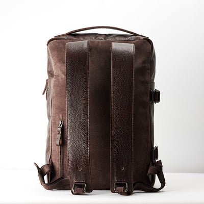 Breathable back suede. Dark brown Leather Backpack for men. Designer unique rucksack