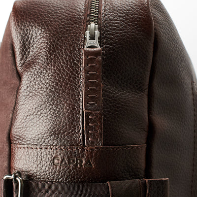 YKK metallic zippers. Dark brown Leather Backpack for men. Designer unique rucksack