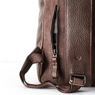 Secret pocket interior. Dark brown Leather Backpack for men. Designer unique rucksack