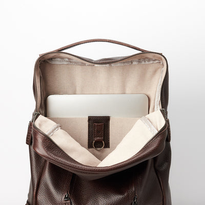 Linen interior and magnetic keychain. Dark brown Leather Backpack for men. Designer unique rucksack