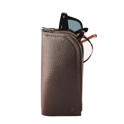 Handmade dark brown leather glasses case with double compartment for sunglasses and reading glasses