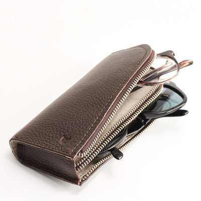 Dual sunglasses sleeve. Handmade dark brown leather glasses case with double compartment for sunglasses and reading glasses