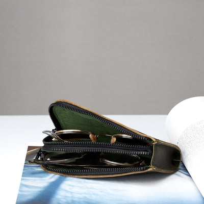 Style double glasses case suede interior by Capra Leather