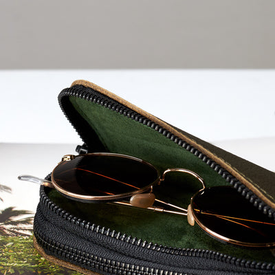 Style double glasses case green suede details by Capra Leather
