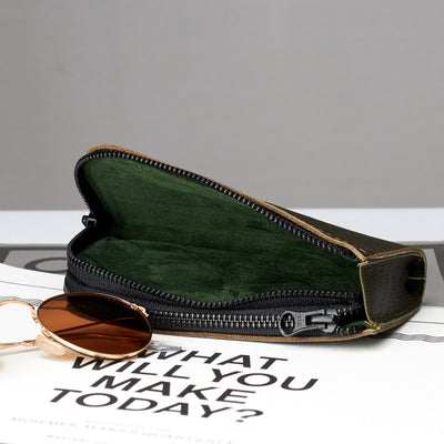 Suede detail interior glasses case by Capra Leather