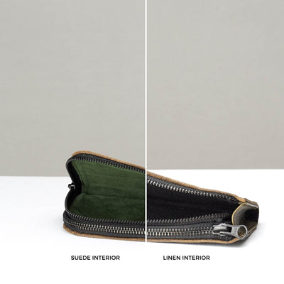 Suede and linen interior. Green Double glasses case by Capra Leather