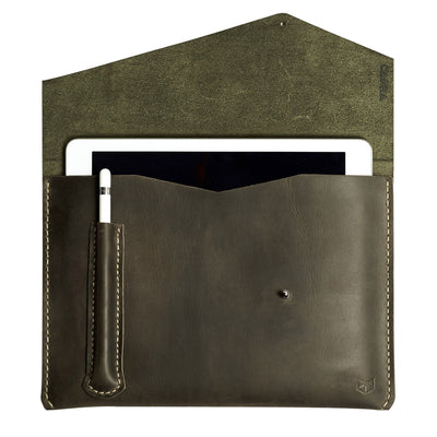 Green leather iPad pro case with apple pencil holder. Mens unique case for Apple 10.5 inch and 12.9inch tablet