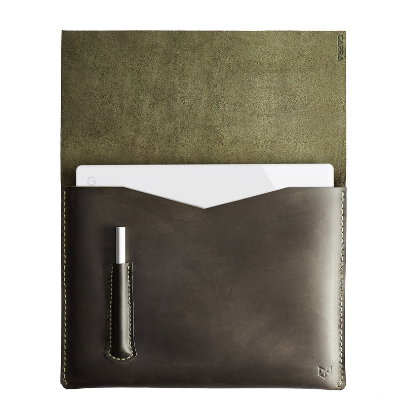 Green Pixelbook Chromebook leather sleeve with  pencil holder
