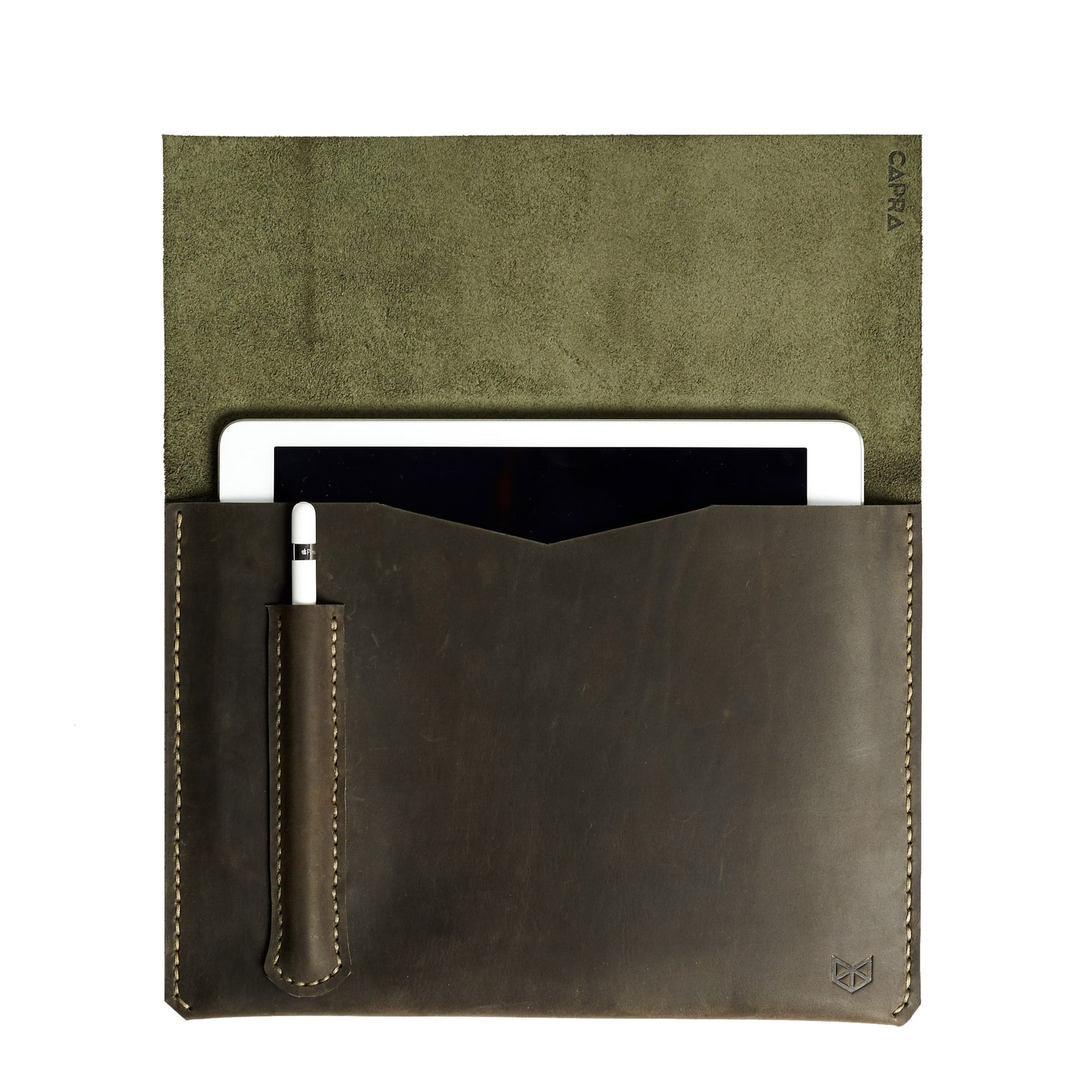 Green iPad pro leather sleeve with apple pencil holder