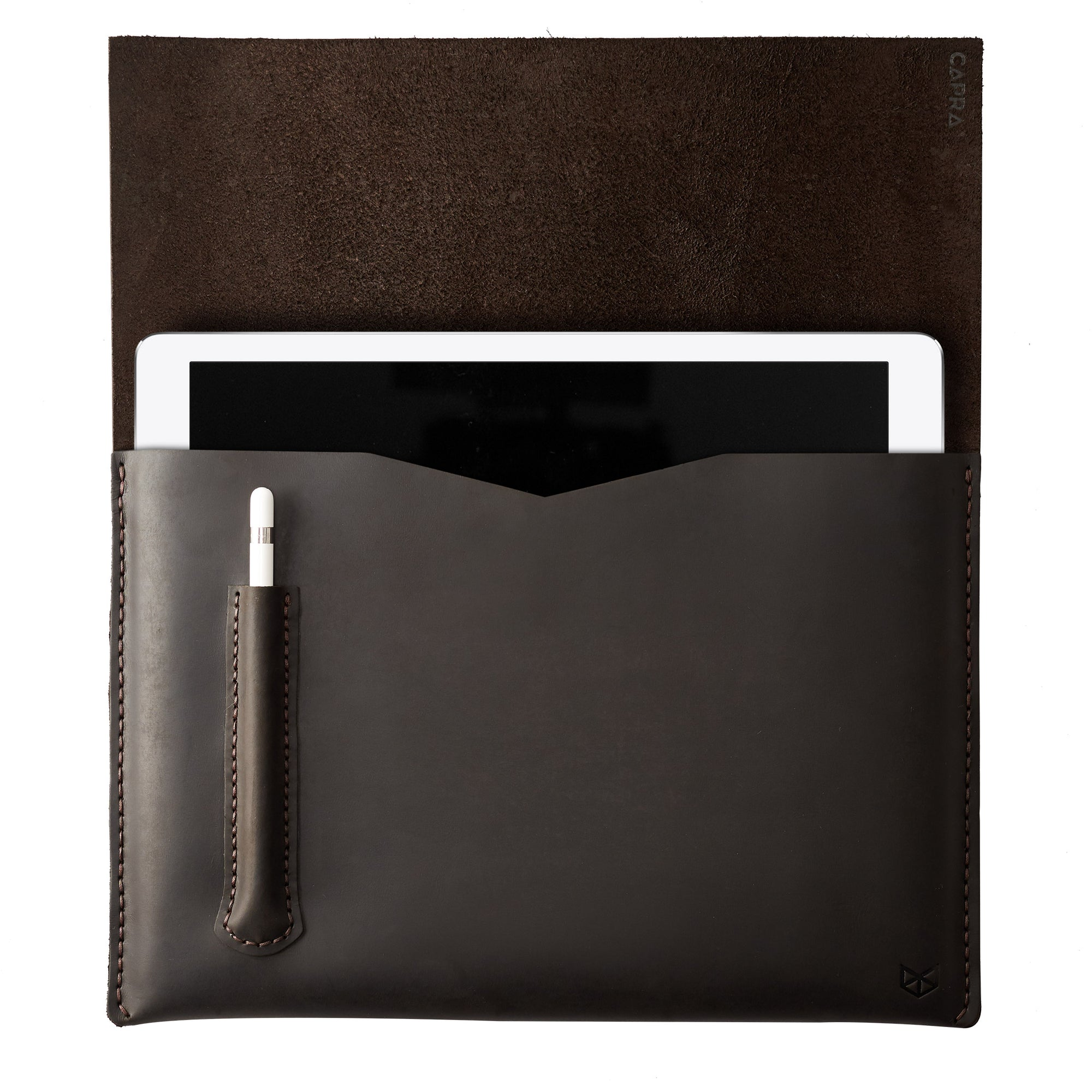 Dark brown iPad pro leather sleeve with apple pencil holder