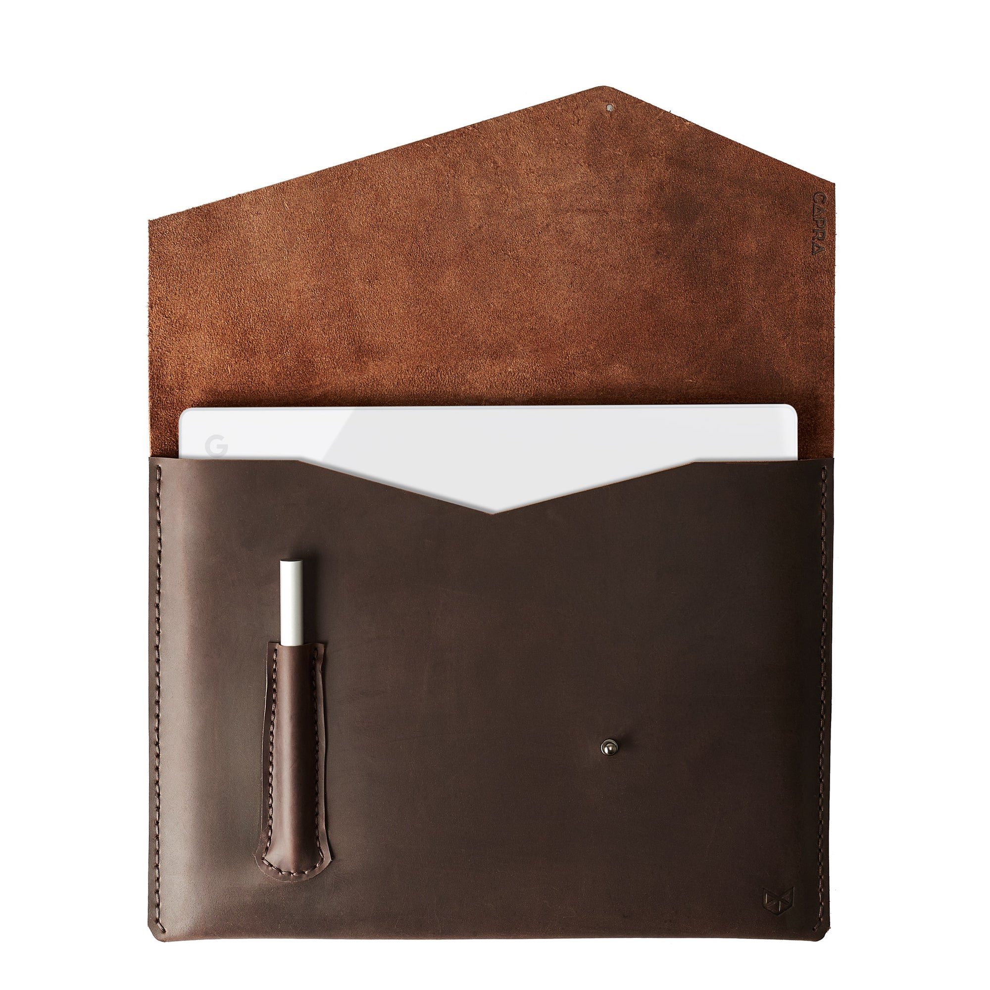 Cover. Brown leather Google Pixelbook. Mens handmade folio. Sleeve with google pen holder