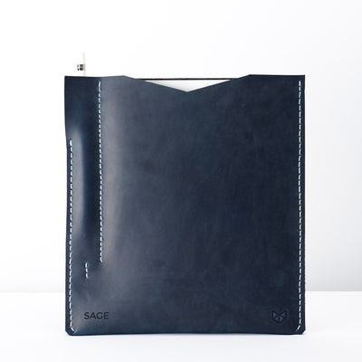 Personalized blue iPad pro sleeve with engraved initials. Monogram engraving. iPad pro leather case for men