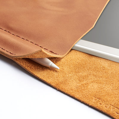 Marker holder. Light brown handcrafted leather reMarkable tablet case. Folio with Marker holder. Paper E-ink tablet minimalist sleeve design.