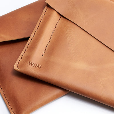 Custom Monogram. Light brown leather sleeve for ASUS Zenbook Pro Duo. Mens gifts