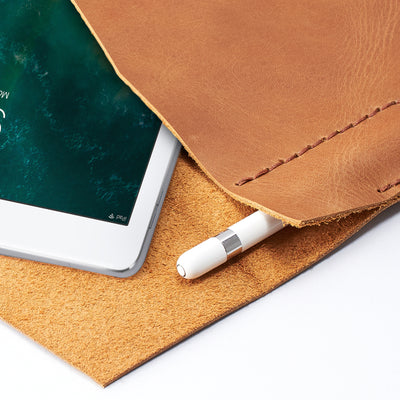 Apple pencil holder. Light brown leather sleeve for iPad pro. Case for iPad Pro 10.5 inch 12.9 inch. Mens gifts