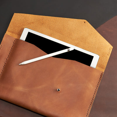 Soft anti scratch interior. Light brown leather sleeve for Pixel Slate. Case for Pixel Slate. Mens gifts