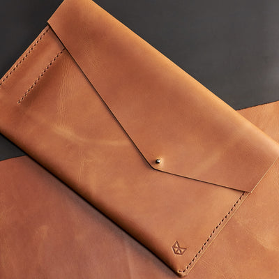 Style. Light brown leather sleeve for ASUS Zenbook Pro Duo. Mens gifts
