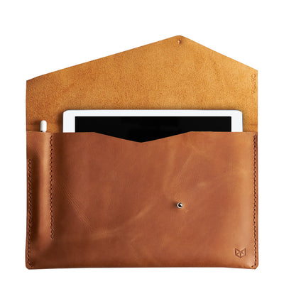 Light brown leather sleeve for iPad pro. Case for Pixel Slate. Mens gifts