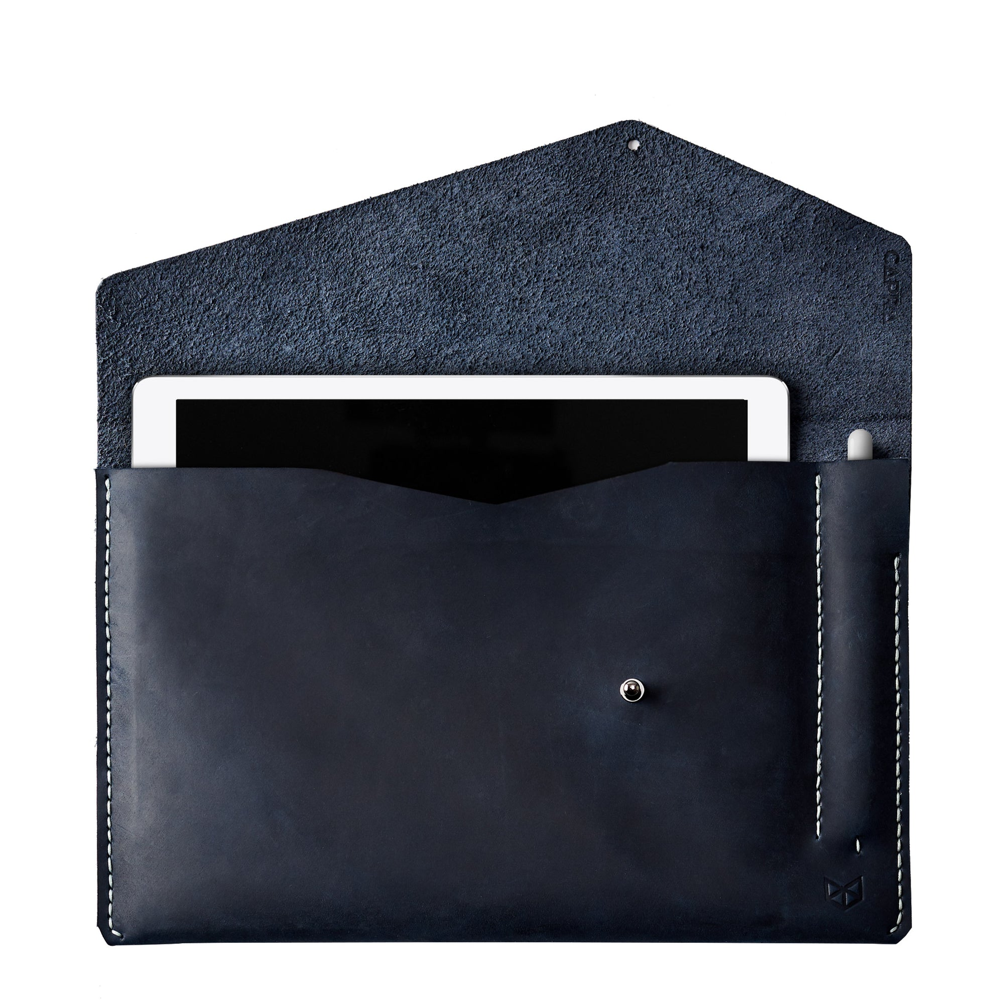 iPad Sleeve. iPad Leather Case Navy With Apple Pencil Holder by Capra Leather