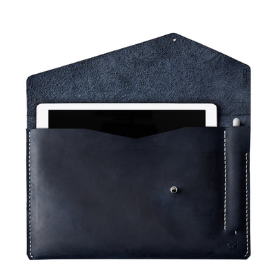 Blue leather sleeve for Pixel Slate. Mens gifts