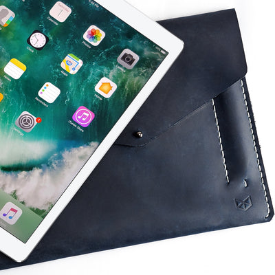 Unique mens case. Blue leather sleeve for iPad pro 10.5 inch 12.9 inch. Mens gifts