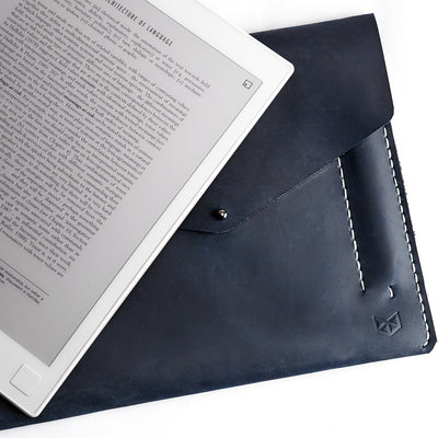 Unique Blue handcrafted leather reMarkable tablet case. Folio with Marker holder. Paper E-ink tablet minimalist sleeve design.