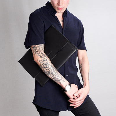 Style holding case by model. Black draftsman 1 case by Capra Leather. Google pixel book sleeve.