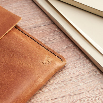 Hand stitching detail. Leather Microsoft Surface  Sleeve Case by Capra Leather