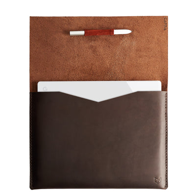 Open. Leather Google Pixelbook Sleeve brown Case, Google laptop mens folio