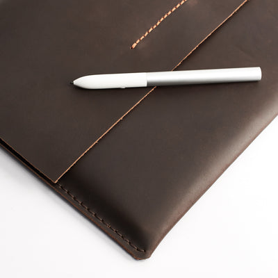 Close up. Leather Google Pixelbook Sleeve brown Case, Google laptop mens folio