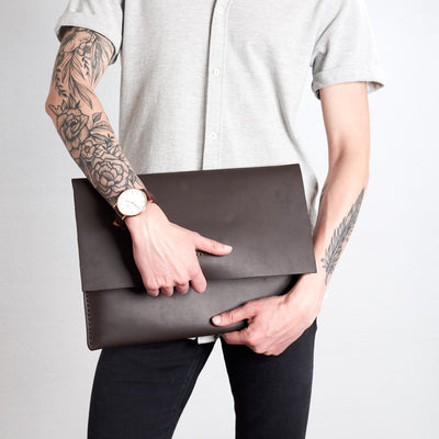 Style holding case. Marron draftsman 1 case by Capra Leather. ZenBook sleeve.