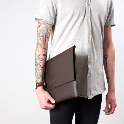 Style front view. Marron draftsman 1 case by Capra Leather. Microsoft Surface sleeve.