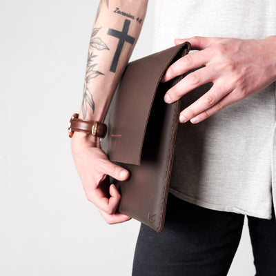 Style holding case by side. Marron draftsman 1 case by Capra Leather. Microsoft Surface sleeve.
