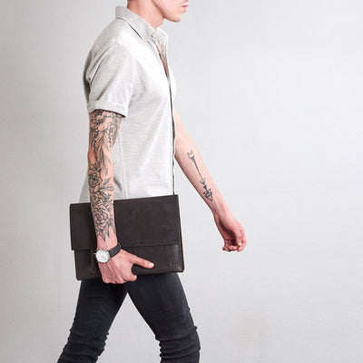Style walking with case. Marron draftsman 2 case by Capra Leather. Microsoft Surface sleeve.
