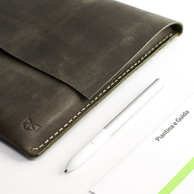 Style. Green Pixelbook Chromebook leather sleeve with  pencil holder
