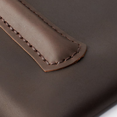 Stitching detail. Marron hand stitched iPad pro leather sleeve. iPad cover, iPad protector, hand stitched cases for men