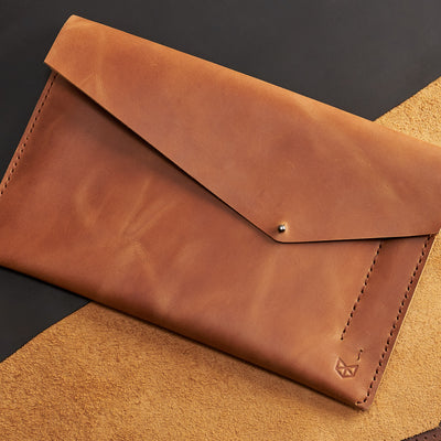Style. Light brown handcrafted leather reMarkable tablet case. Folio with Marker holder. Paper E-ink tablet minimalist sleeve design.
