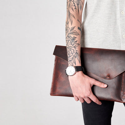 Style holding case. Cognac draftsman 5 case by Capra Leather. Microsoft Surface sleeve.