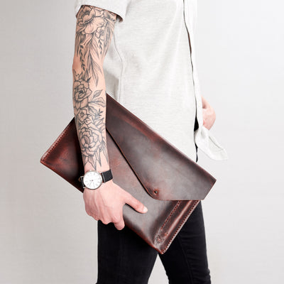 Style front view. Cognac draftsman 5 case by Capra Leather. Microsoft Surface sleeve.