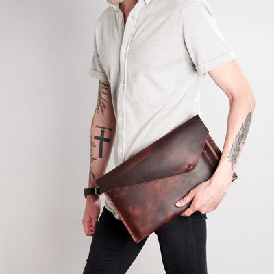 Style holding case by side. Cognac draftsman 5 case by Capra Leather. ZenBook sleeve.