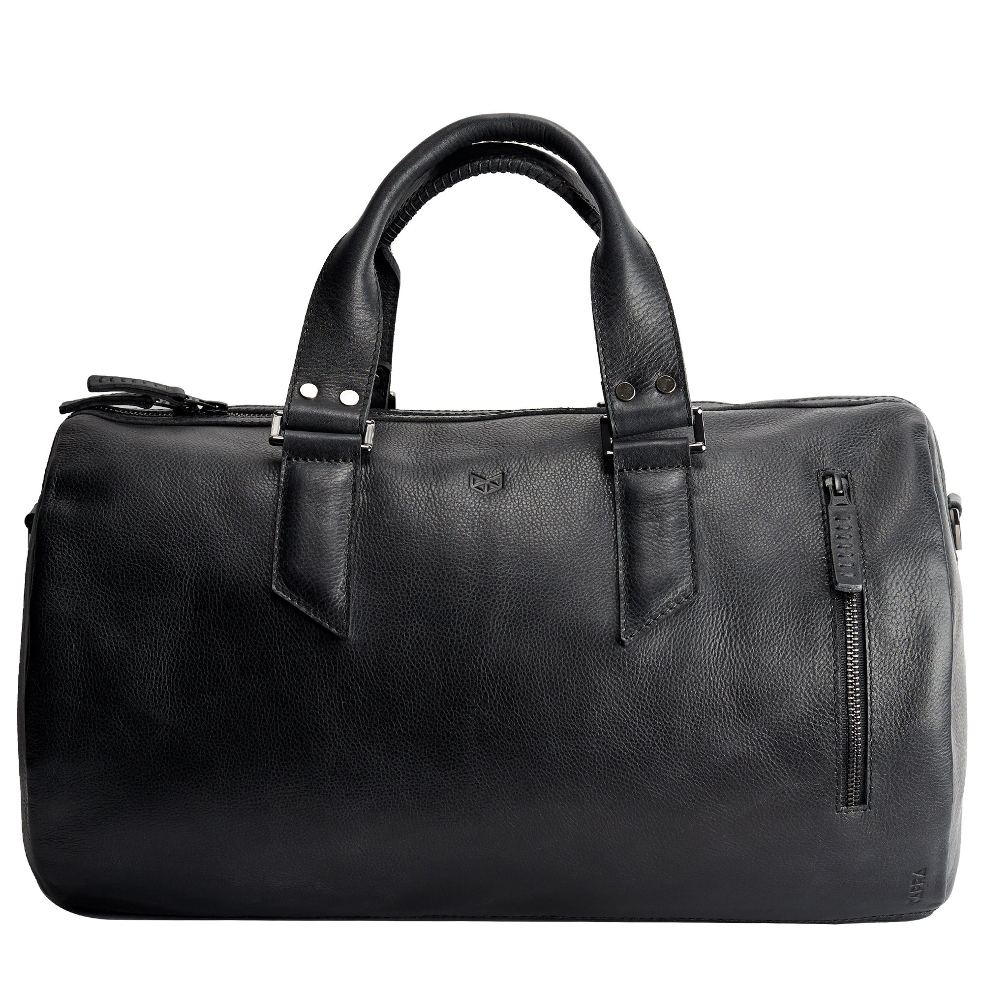 Black Duffle leather travel bag for men. Gym athletic bag