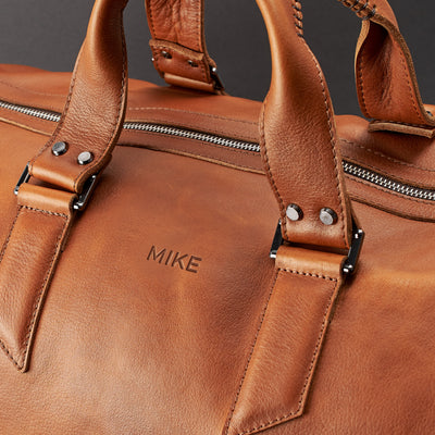 Custom monogram. Handmade Tan brown leather duffle bag for men. Mens designer shoulder bag